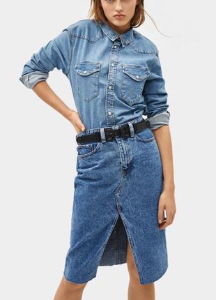 Юбка миди джинсовая высокая талия bershka оригинал голубая деним