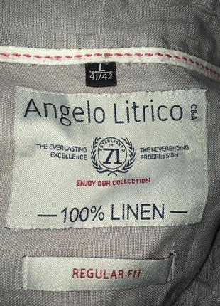 Cерая рубашка лён 41\42 л4