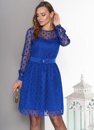 Воздушное платье с пышной юбкой и поясом с бантом 5 цветов хс,с,м,л