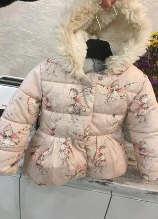 Стильная теплая зимняя куртка пальто пуховик 🧥 на 3-4 года