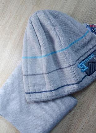 Весняно-осінній головний набір: шапка + шарф на 52-54 об'єм голови
