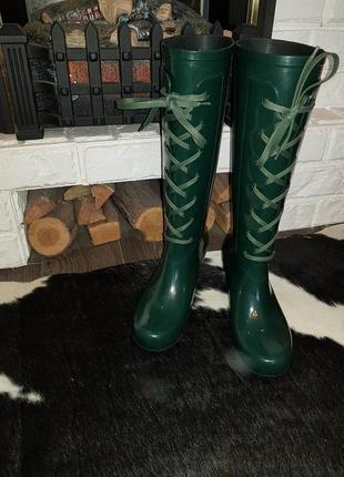 Ультрамодные стильные резиновые сапоги yves saint laurent, оригинал, италия8