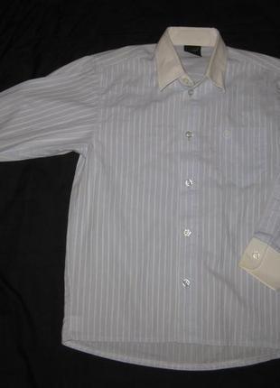 7-8 лет, голубая хлопковая рубашка в полоску мальчику