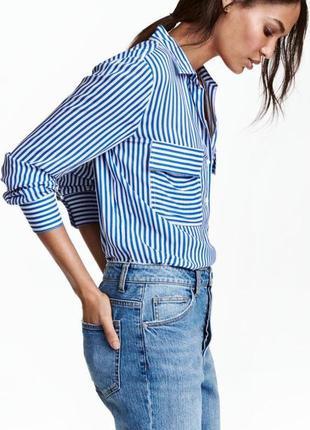 Рубашка с натуральной ткани, рубашка с карманами, рубашка с принтом в полоску