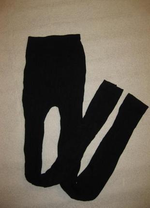 Размер l, вязаные чёрные гамаши рейтузы с узорами, финские