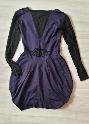 Чёрно-фиолетовое платье