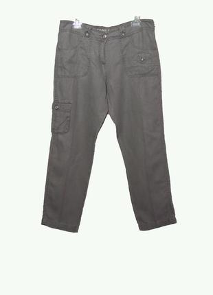 Льняные укороченные женские  брюки-карго серого цвета