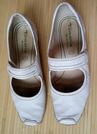 Кожанные белые туфли tomaris3