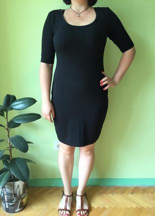 Чёрное платье узкое в обтяжку lindex размер м платье-миди платье ниже колен