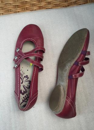 Туфли кожаные  балетки