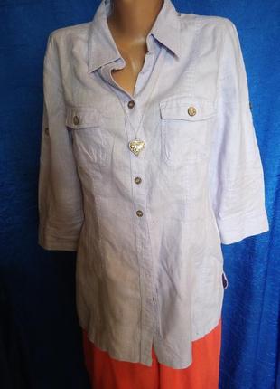 Лиловая рубашка 100%лен /льон /из льна/ льняная