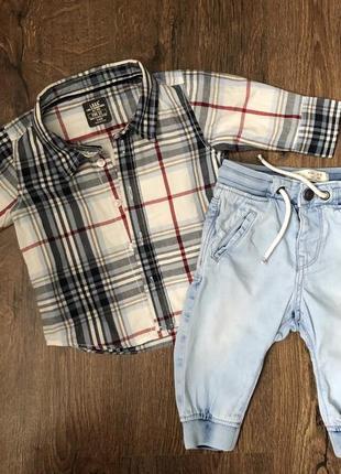 Комплект рубашка, джинсы  для мальчика, zara, 3-6 месяцев