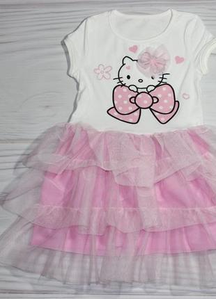 Летнее нарядное фатиновое розовое платье с китти, турция