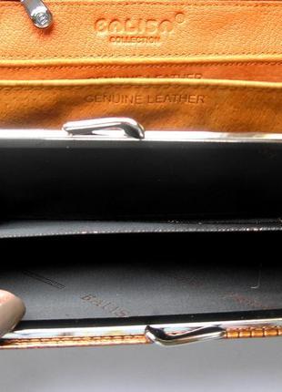 Большой кожаный лаковый кошелек gold, 100% натуральная кожа, есть доставка бесплатно9 фото