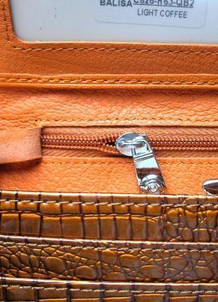 Большой кожаный лаковый кошелек gold, 100% натуральная кожа, есть доставка бесплатно8 фото