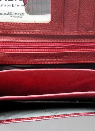 Большой кожаный лаковый кошелек bordo, 100% натуральная кожа, есть доставка бесплатно5 фото