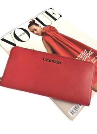 Шикарный красный кошелёк calvin klein! натуральная сафьяновая кожа! оригинал!