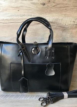 Кожаная вместительная сумочка