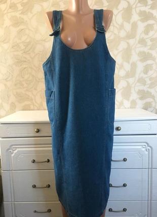 Catton. джинсовый сарафан с большими  карманами