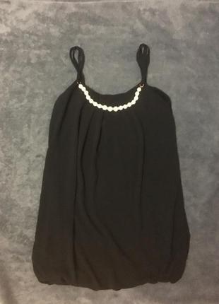 Майка туника блуза черная с бусами намисто летняя на бретельках без рукавов літня