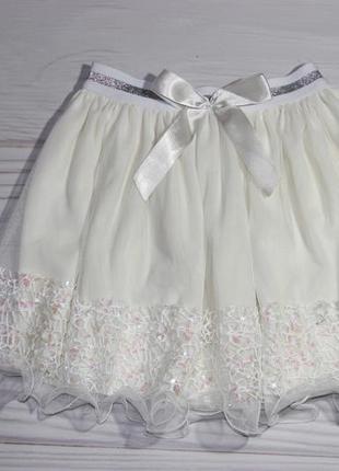 Нарядная фатиновая белая юбка, на резинке, турция