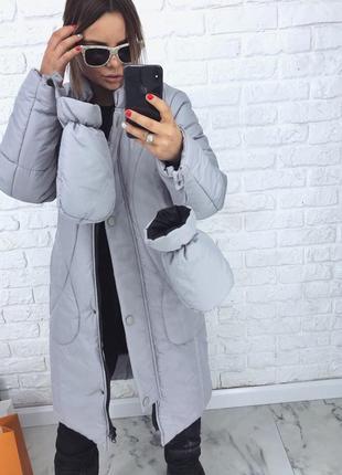 Шикарный новый теплый дутый серый пуховик(пальто) с варежками xs,s,m,l размеры