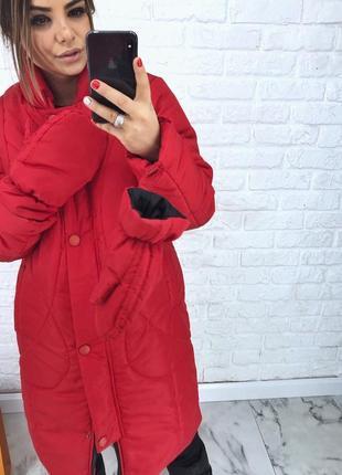 Шикарный новый теплый дутый красный пуховик(пальто) с варежками xs,s,m,l размеры