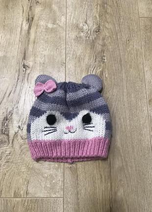 Тёплая вязаная шапка 2-3 года