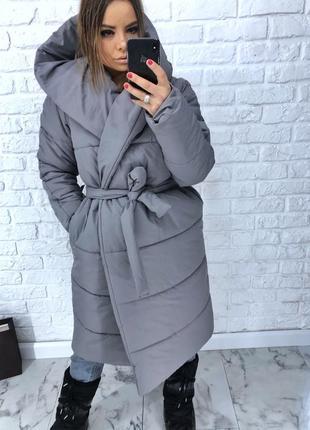 Шикарный новый серый теплый зимний пуховик одеяло(пальто,куртка) s,m,l,xl 42 44 46 48 50