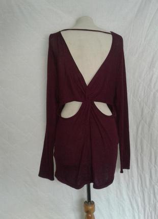 Тонкое платье с открытой спиной цвета марсала, l-xl.