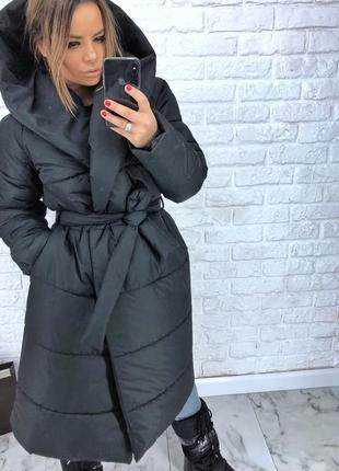 Шикарный новый серый зимний пуховик одеяло(пальто,куртка) s,m,l,xl 42 44 46 48 50