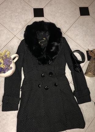 Бомбезное пальто в горошек с натуральным мехом от boohoo⭐️