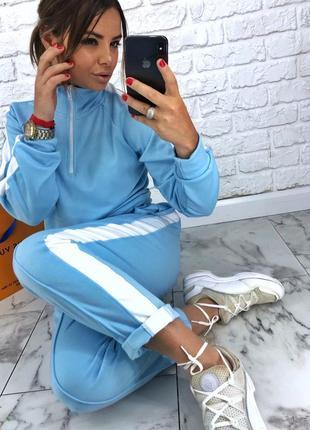 Шикарный новый голубой костюм(комбинезон,комбез,кофта-поло,брюки) s,m,l размер1