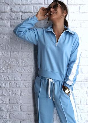 Шикарный новый голубой костюм(комбинезон,комбез,кофта-поло,брюки) s,m,l размер3