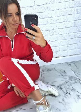 Шикарный новый красный костюм(комбинезон,комбез,кофта-поло,брюки) s,m,l размер6
