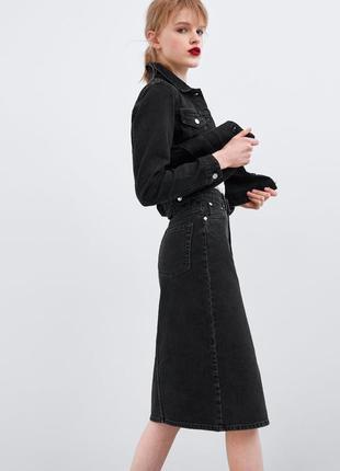 Юбка миди чёрная джинсовая на высокой талии zara оригинал