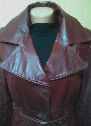 Шикарная кожаная куртка,жакет,пиджак.44-46р.от бренда maria kurki.2 фото
