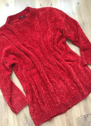 Свитер-платье из бархатной нити