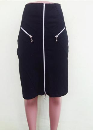 Универсальная юбка карандаш с молниями деловая стильная