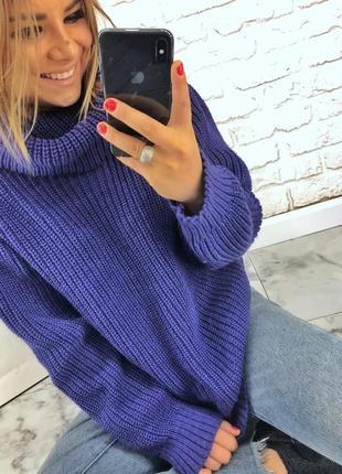 Шикарный новый теплый синий шерстяной свитер(кофта) овэрсайз xs,s,m,l