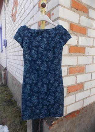 Красивое платье синее в турецкие огурцы oodji