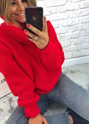 Шикарный новый теплый красный шерстяной свитер(кофта) овэрсайз xs,s,m,l