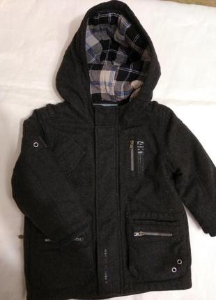 Теплое пальто на мальчика 1.5-2 года от next