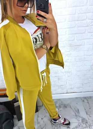 Шикарный новый желтый брючный костюм(кофта+брюки) xs,s,m,l2