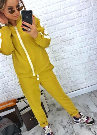 Шикарный новый желтый брючный костюм(кофта+брюки) xs,s,m,l3