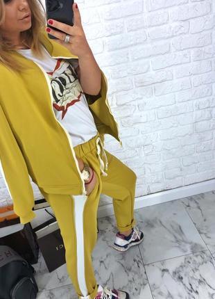 Шикарный новый желтый брючный костюм(кофта+брюки) xs,s,m,l5