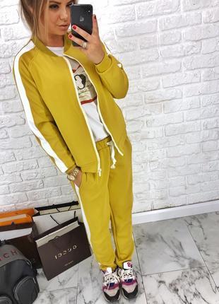 Шикарный новый желтый брючный костюм(кофта+брюки) xs,s,m,l6