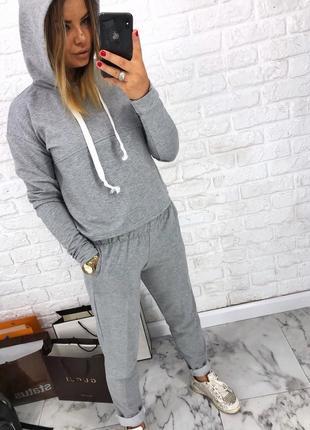 Шикарный новый серый брючный костюм(свитшот+брюки) xs,s,m,l4