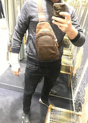 Мужская сумка через плечо из лошадиной кожи