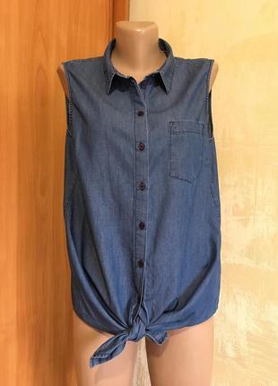 Лёгкая джинсовая рубашка без рукав.tom tailor